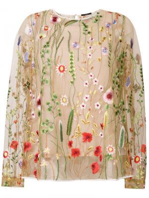Полупрозрачная блузка с цветочной вышивкой Odeeh. Цвет: телесный