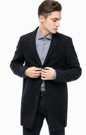 Шерстяное пальто в клетку Cinque. Цвет: синий
