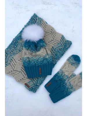 Комплект : шапка, снуд, варежки. Sava. Цвет: голубой, молочный