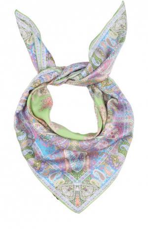 Шелковый платок с принтом Michele Binda. Цвет: светло-зеленый