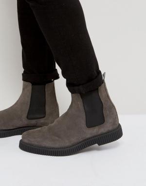 ASOS Серые замшевые ботинки челси на толстой подошве. Цвет: серый