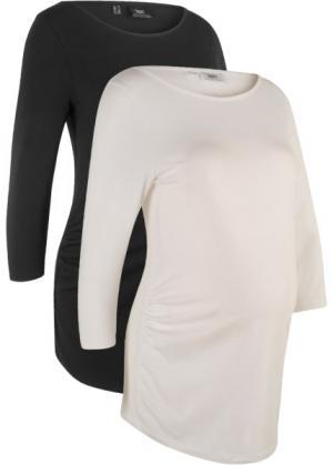 Мода для беременных: футболка из биохлопка (2 шт.) (черный/белый) bonprix. Цвет: черный/белый
