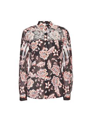 Рубашка GUESS. Цвет: коричневый, розовый