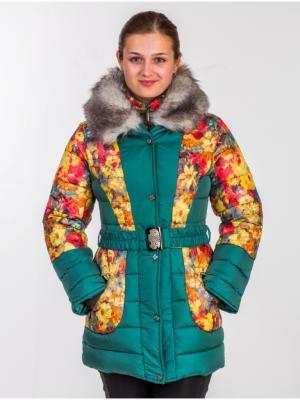 Куртка для девочки Цветы Пралеска. Цвет: зеленый