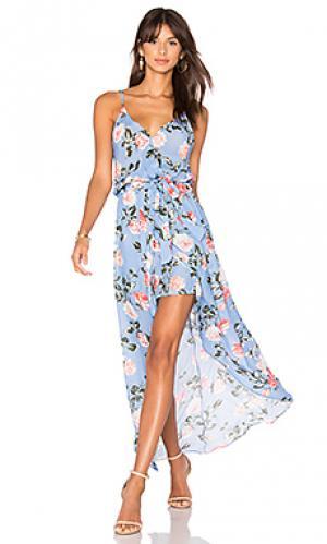 Макси платье с принтом egypt Karina Grimaldi. Цвет: синий