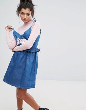 Lazy Oaf Джинсовое платье. Цвет: синий