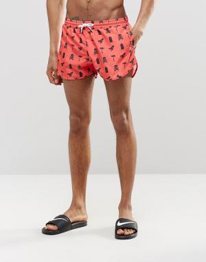 Abuze London Короткие шорты для плавания с принтом. Цвет: красный
