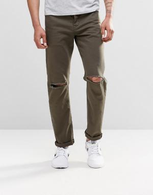 ASOS Узкие джинсы стретч цвета хаки с рваными коленками. Цвет: зеленый