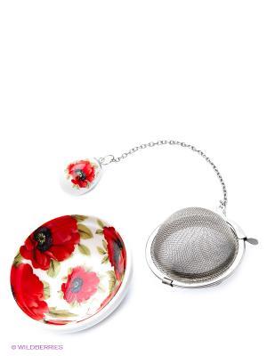Набор для заваривания чая Маки Elan Gallery. Цвет: красный, белый