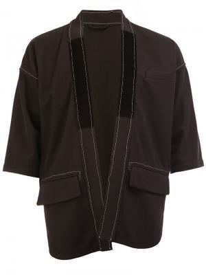 Пиджак без застежки с короткими рукавами Wooster + Lardini. Цвет: чёрный