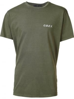Футболка с принтом логотипа Obey. Цвет: зелёный