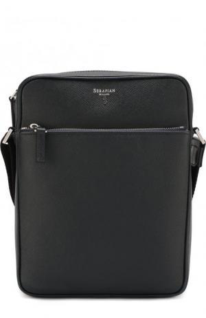 Кожаная сумка-планшет с двумя отделениями на молнии Serapian. Цвет: темно-синий