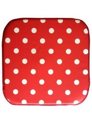 Подушка на табурет ПВХ, 34х34х2 см DEKORTEX. Цвет: красный, белый