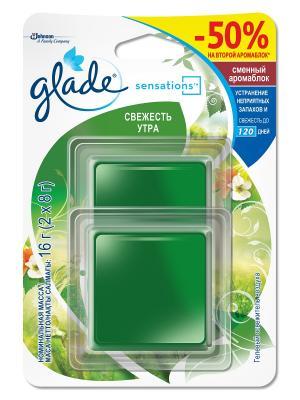 Glade Освежитель воздуха АромаКристалл сменный Двойной блок Свежесть Утра 16г. Цвет: зеленый