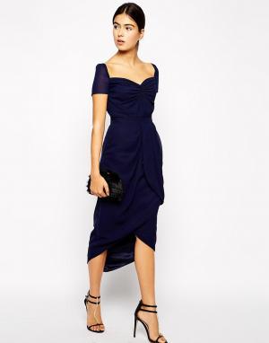 VLabel London Платье миди с юбкой тюльпан. Цвет: темно-синий