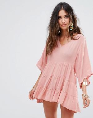 Anmol Пляжная накидка с вышивкой. Цвет: розовый
