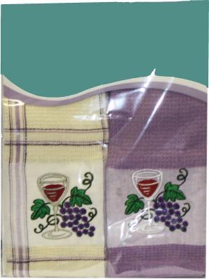 Набор кухонных полотенец Вафля, (38*64см - 2шт.) Dorothy's Нome. Цвет: молочный,фиолетовый