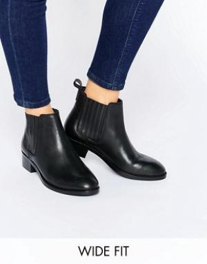 ASOS Кожаные ботинки челси для широкой стопы ABOUT TIME. Цвет: черный