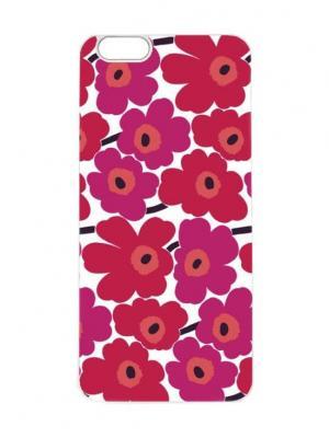 Чехол для iPhone 6Plus Малиновые ромашки Арт. 6Plus-095 Chocopony. Цвет: красный, белый, малиновый
