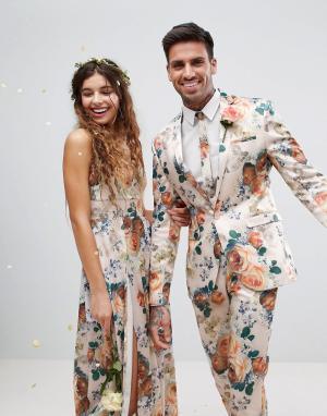 ASOS Супероблегающий пиджак с цветочным принтом Wedding. Цвет: кремовый