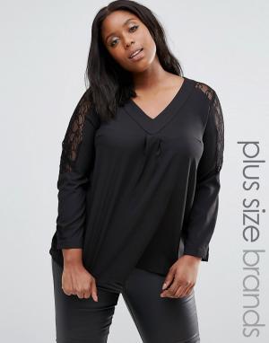 Praslin Рубашка с кружевными вставками Plus. Цвет: черный