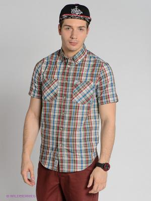 Рубашка Etnies. Цвет: бежевый, красный, синий, зеленый