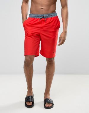 Wetts Пляжные шорты с контрастным поясом. Цвет: красный