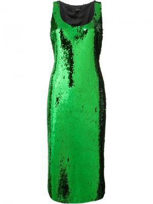 Sequined slip dress Sally Lapointe. Цвет: зелёный