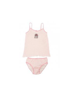 Комплект белья Модамини. Цвет: розовый, серый