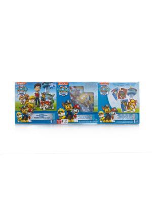 Игровой набор Spin Master 3-в-1 - игра с кубиком и фишками + пазл игровые карты Щенячий Патруль. Цвет: синий