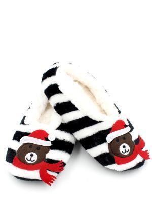 Носки-тапочки HOBBY LINE. Цвет: белый, черный