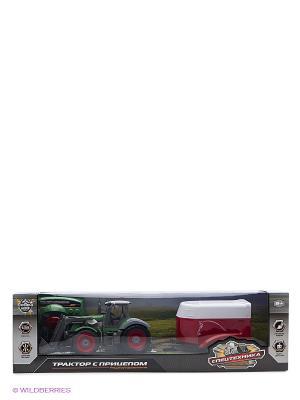 Трактор колесный с ковшом и полуприцепом р/у 1:28, 6 каналов Пламенный мотор. Цвет: зеленый, красный
