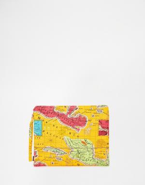 Echo Клатч с картой Мехико. Цвет: оранжевый