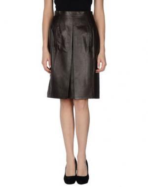 Кожаная юбка LAGERFELD. Цвет: темно-коричневый