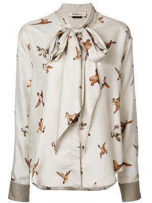 Блузка с принтом птиц Mulberry. Цвет: телесный