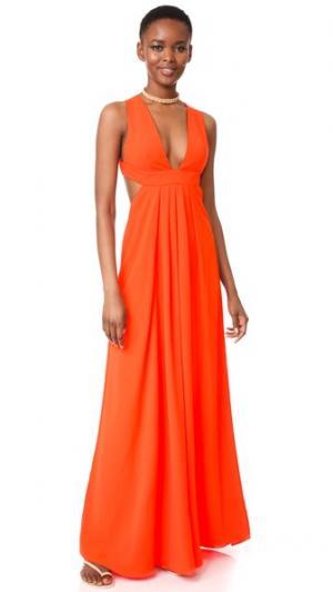 Вечернее платье с V-образным вырезом Jill Stuart. Цвет: мандариновый