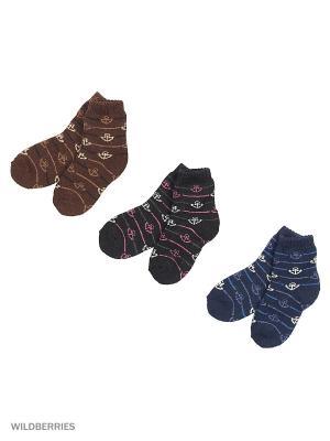 Носки шерстяные, 3 пары HOBBY LINE. Цвет: черный, синий, коричневый