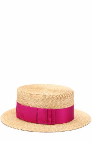 Соломенная шляпа с лентой Philip Treacy. Цвет: бежевый