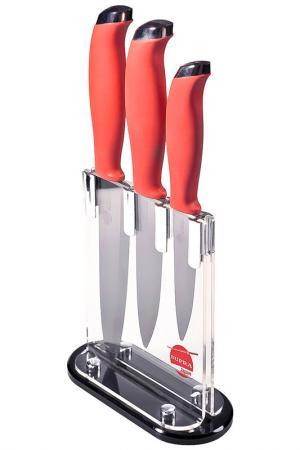 Набор керамических ножей 4 пр. Supra. Цвет: черный, красный