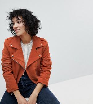 Reclaimed Vintage Замшевая байкерская куртка Inspired. Цвет: оранжевый