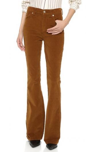 Модные расклешенные брюки 7 For All Mankind. Цвет: коньячный