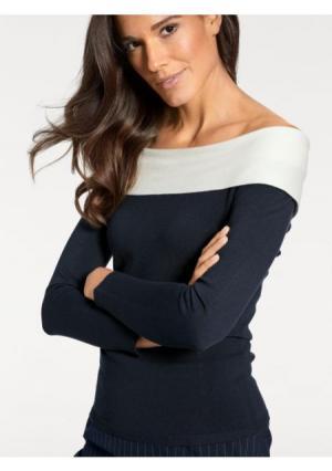 Пуловер PATRIZIA DINI by Heine. Цвет: темно-синий/белый