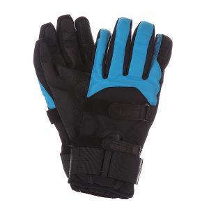 Перчатки сноубордические  Mens Synthetic Gloves Removeable Wrist Guard Black/Cyan Bern. Цвет: черный,голубой
