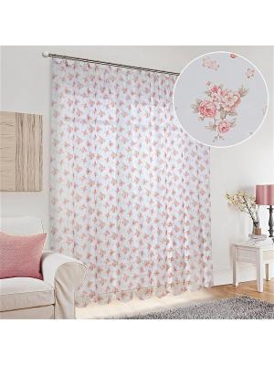 Тюль Олимп Текстиль. Цвет: малиновый, прозрачный