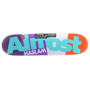 Дека для скейтборда  S5 Haslam C-block R7 Purple/White/Orange 31.7 x 8.0 (20.3 см) Almost. Цвет: фиолетовый,белый,оранжевый