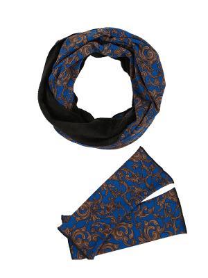 Комплект из снуда-мебиуса и митенок трикотажного меха Оланж Ассорти. Цвет: синий