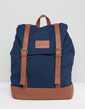 Dead Vintage Темно-синий рюкзак с пряжками. Цвет: синий