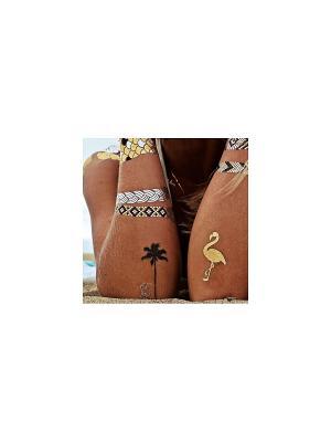 Золотая временная переводная флеш-тату Фламинго МнеТату. Цвет: золотистый