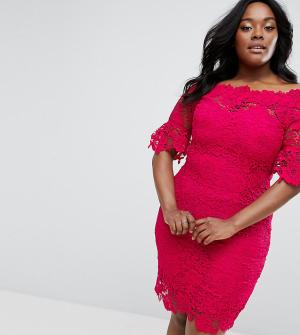 Paper Dolls Plus Платье кроше с открытыми плечами. Цвет: розовый