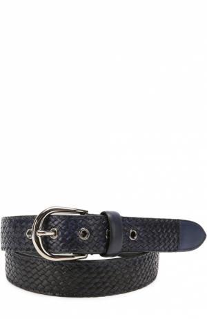Плетеный кожаный ремень с металлической пряжкой Barrett. Цвет: темно-синий